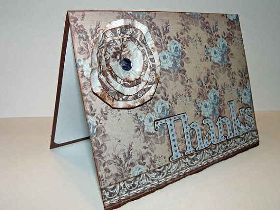 Sophisticated Thank You Cards in Blue and Chocolate by jenboothe, $12.00