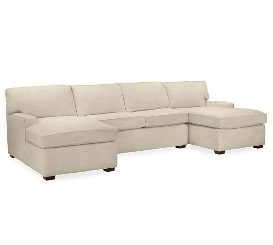 PB Square Upholstered 3-Piece U-Shaped Sectional | Pottery Barn