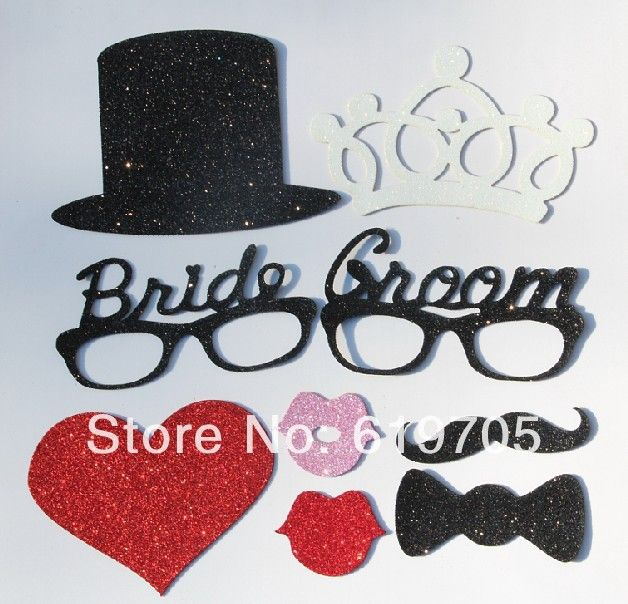 Free Shipping Funny Vintage Bride Groom Crown Moustache Mouth Stick Photo Booth Props Birthday Wedding Party