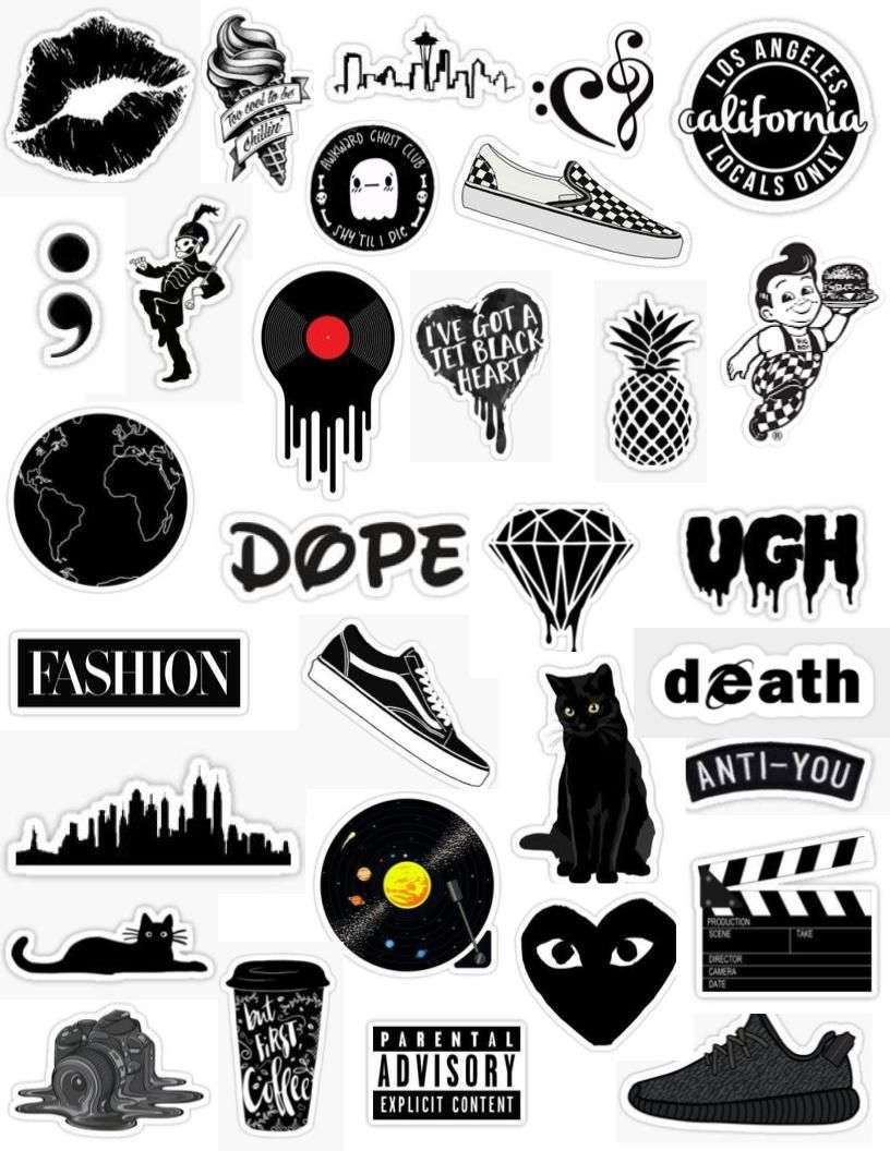 Black Aesthetic Sticker Pack Black And White Tumblr Edit Cute Dark Grunge Shoes Cats Text Overlay Compu Black Stickers Iphone Case Stickers Aesthetic Stickers