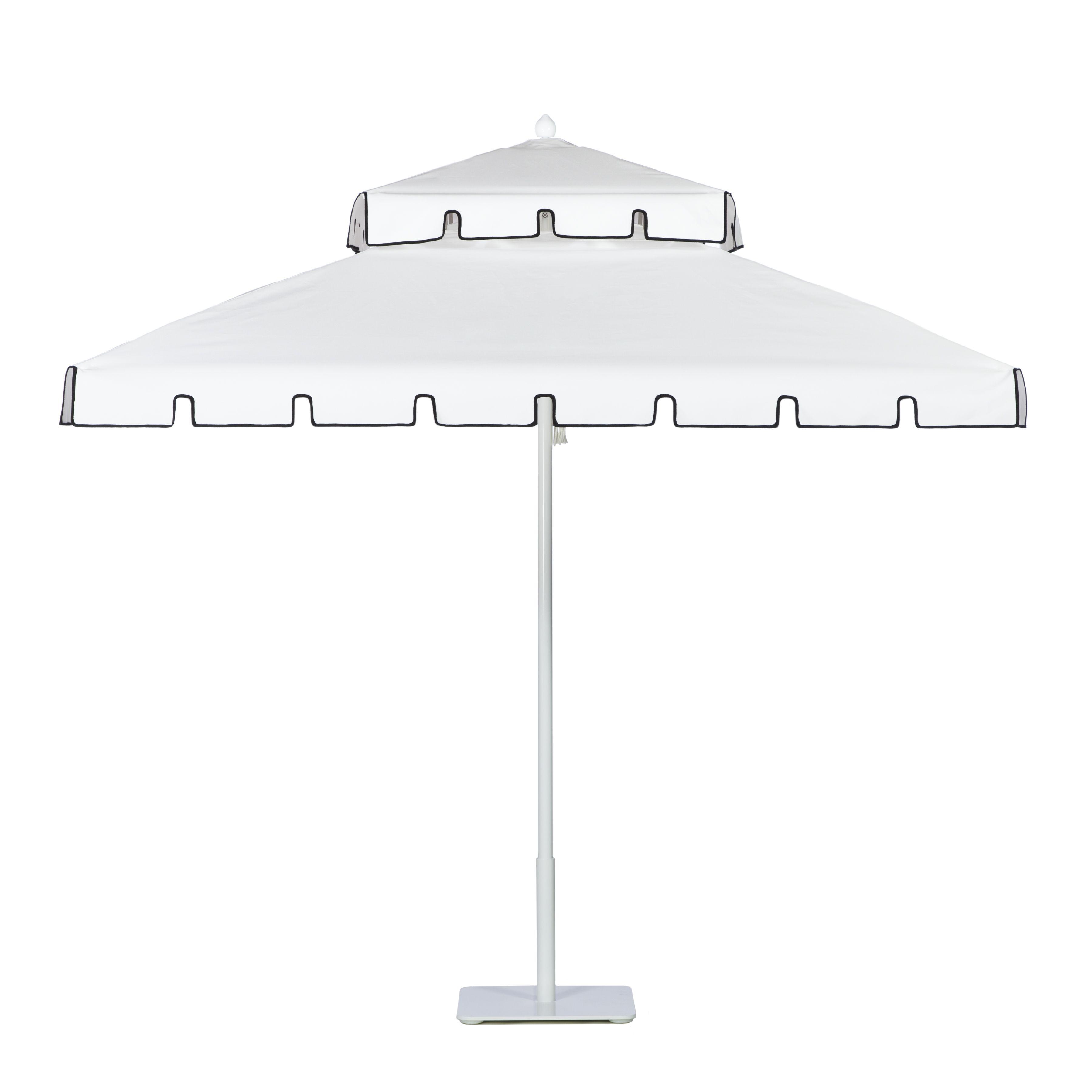 Double Decker aluminum umbrella with White frame in Whitecap