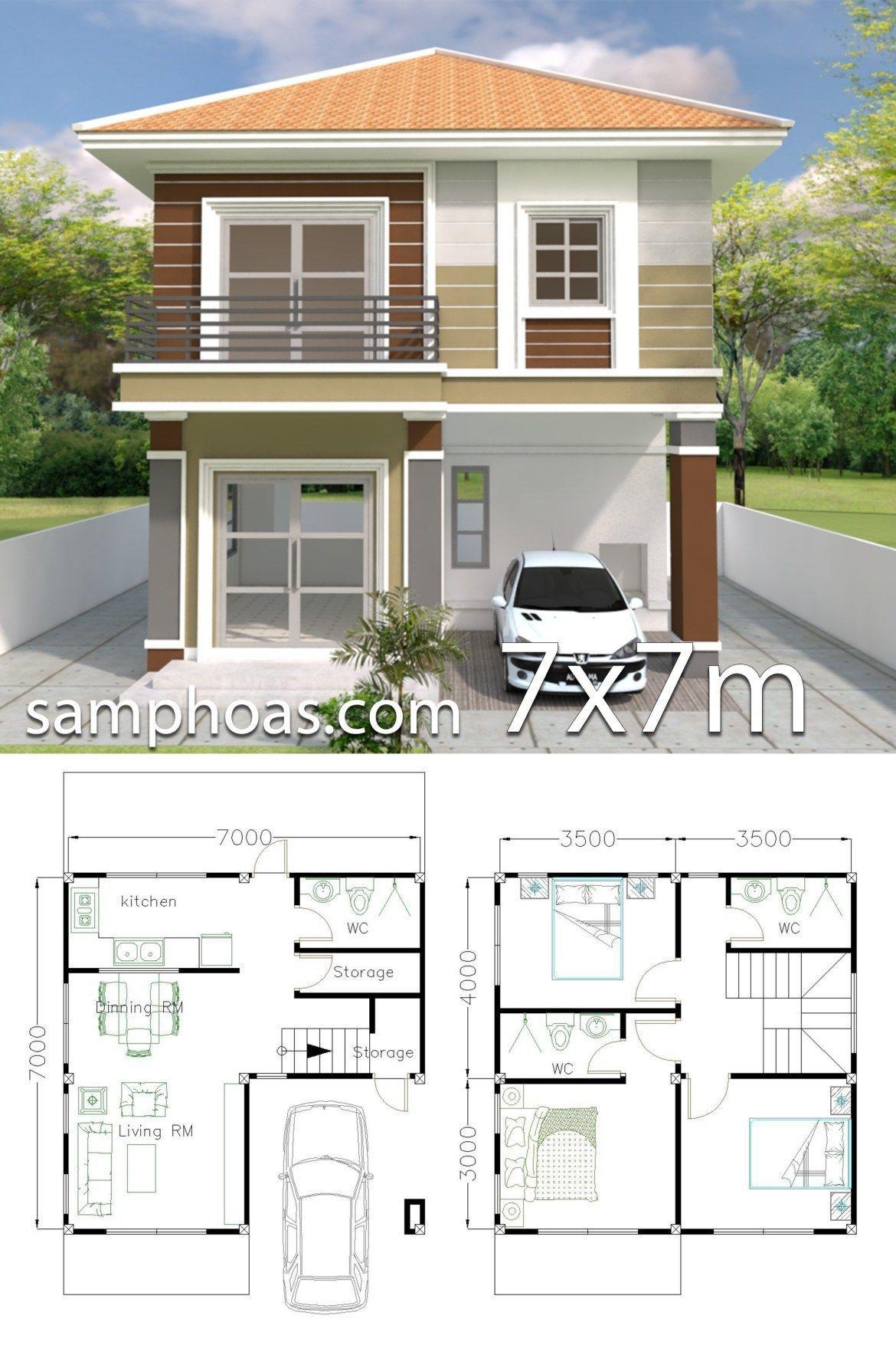 Home Design Plan 7x7m With 3 Bedrooms In 2021 Duplex House Design Small Modern House Plans Small House Design Plans