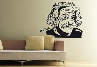 Albert Einstein can make your wall smarter. Start smartening up your interior decor with this amazing Wall Decal Design. Be smart - buy Made in USA.