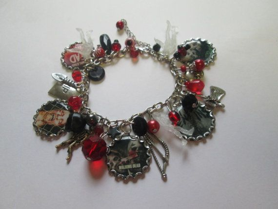 Walking Dead Charm  Bracelet    /  Extra full with  Black beads, Glow in the dark zombies  / ITEM 3606