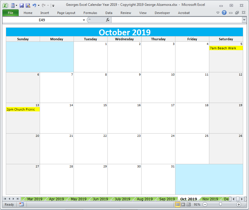 Georges Excel Calendar Year 2019 Excel Calendar Template Excel Calendar Calendar Template