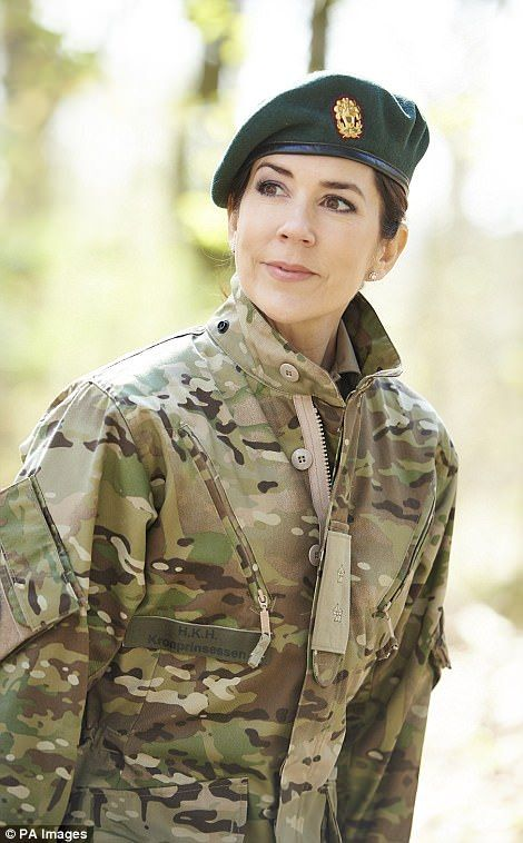 Spotted! Crown Princess Mary, who has her title emblazoned on the front of this military uniform, visited the Danish Home Guard Control Center on Thursday