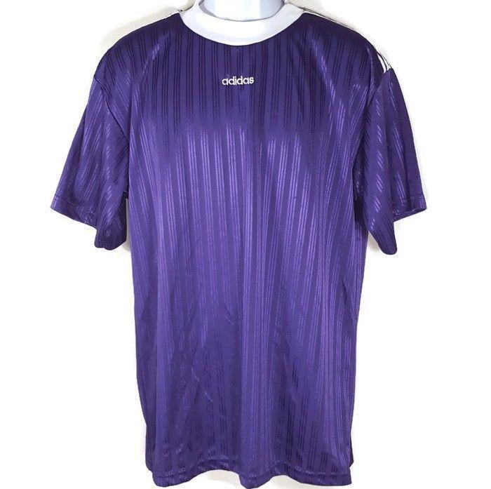 c98557cecbf4 Vintage Adidas Mens Large Purple White Striped Short Sleeve Jersey Shirt  USA  adidas  ActivewearShortSleeve