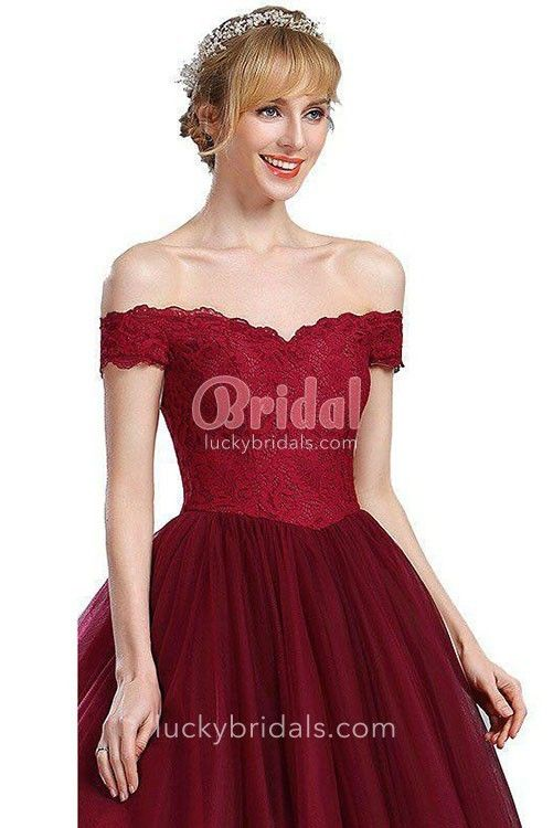 4820e91e7f49 Short A-line Burgundy Tulle Cute Scalloped Off-the-shoulder Cocktail ...