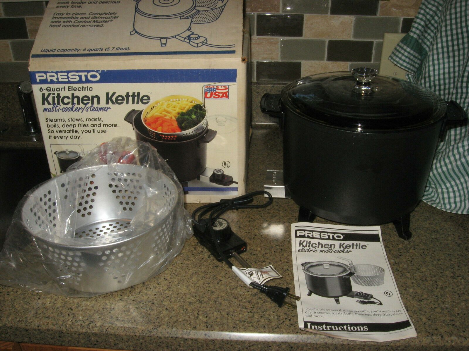 New Old Stock Presto Kitchen Kettle Electric Deep Fryer Multi