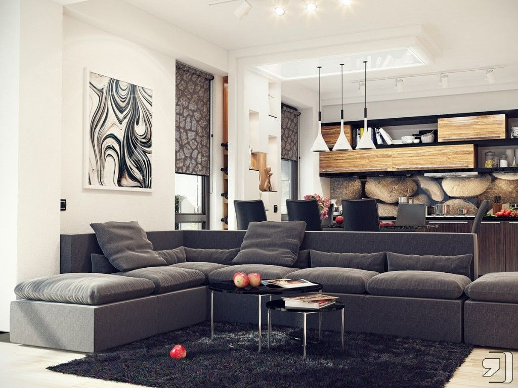 Genial Interior, Nature Colors Living Room Kitchen Black Sofa White Wall  Minimalist Table Chandelier White Frame Picture Aluminum Frame Windows  Carpet Ceiling ...