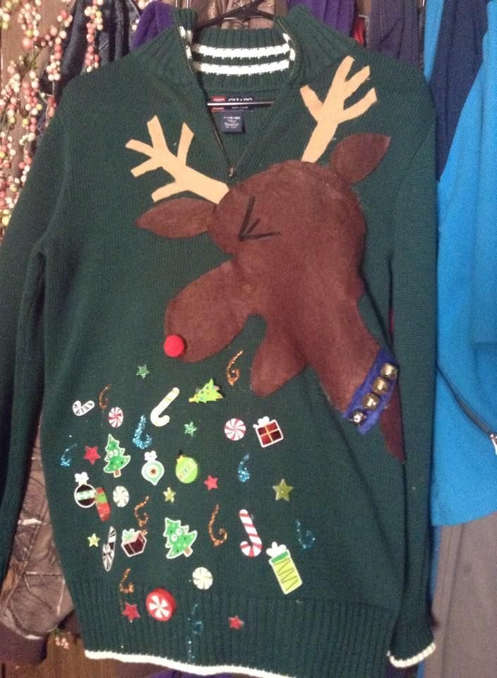 45bf9a8410bdd3 ugly Christmas sweater reindeer throwing up xmas | ugly xmas sweater ...