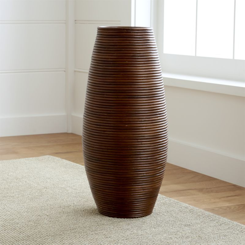 Coiled Rattan With A Tonal Brown Finish Shapes Up In Oversized Taper For Tall Dried Botanicals Or Umbrella Storage Aluminum Insert Floor Vase Vase Modern Vase