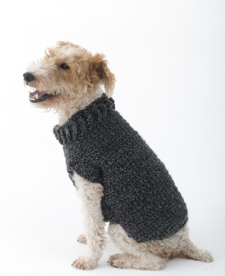 Snuggly crochet dog sweater in Lion Brand - FREE pattern available ...