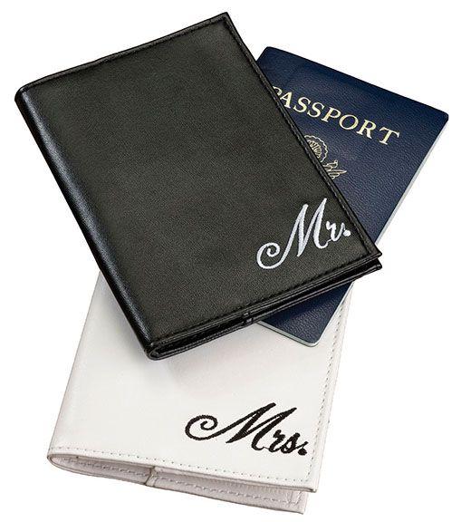 Mr and Mrs Passport Covers Honeymoon Wedding Gift Set Bride Groom