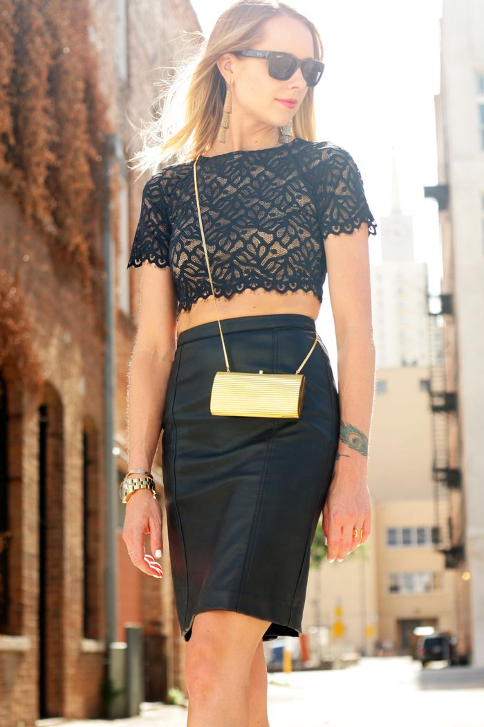 Lover's & Friends Black lace crop top, black leather pencil skirt ...