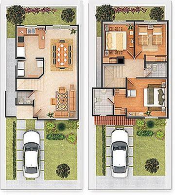 Plano de vivienda de 2 plantas con cochera patio y 3 for Casa de 2 plantas y 3 habitaciones