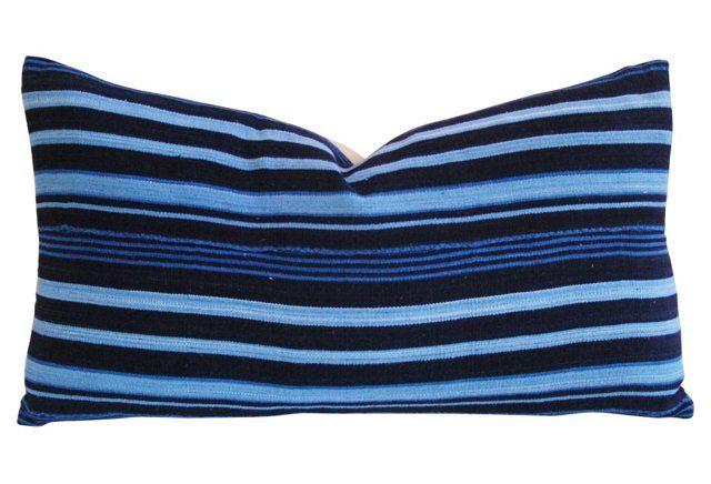 Indigo   Blue Stripe Lumbar  Pillow