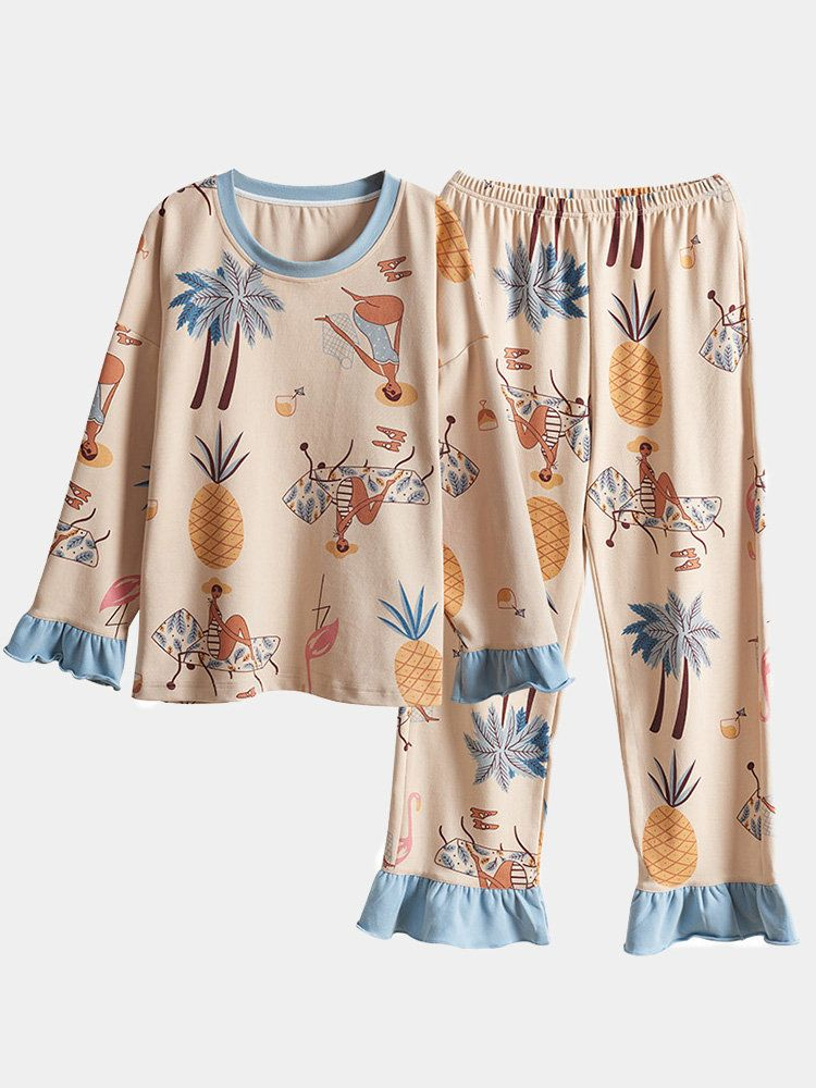 Plus Size Cotton Print Long Pajamas Sets Loose Casual Sleepwear For Women In 2020 Cotton Pajamas Women Sleepwear Women Pajama Set Women