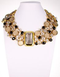 Tourmalated Quartz (center), Onyx, Italian Lucite & Clear Quartz Necklace by Charles Albert.