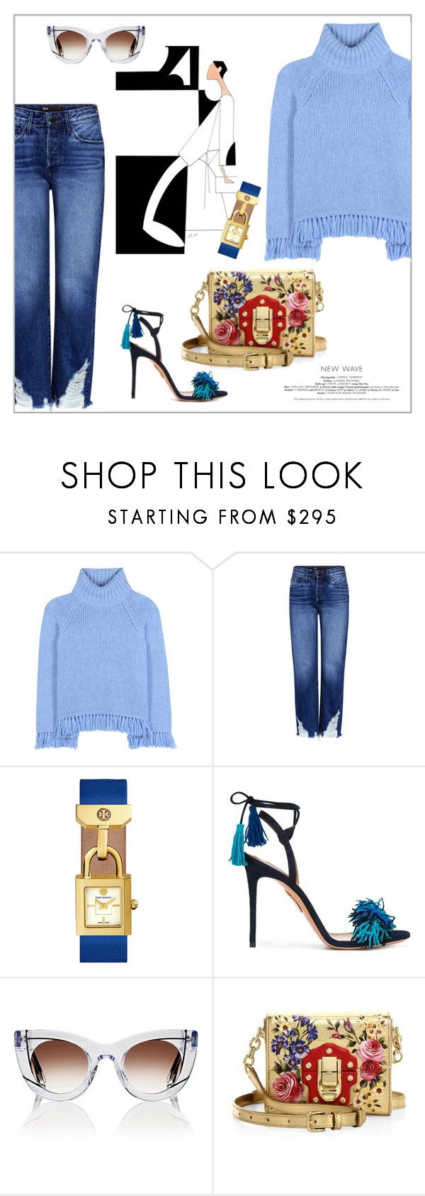 """Monday Blues"" by frenchfriesblackmg ❤ liked on Polyvore featuring Tory Burch, 3x1, Aquazzura, Thierry Lasry and Dolce&Gabbana"