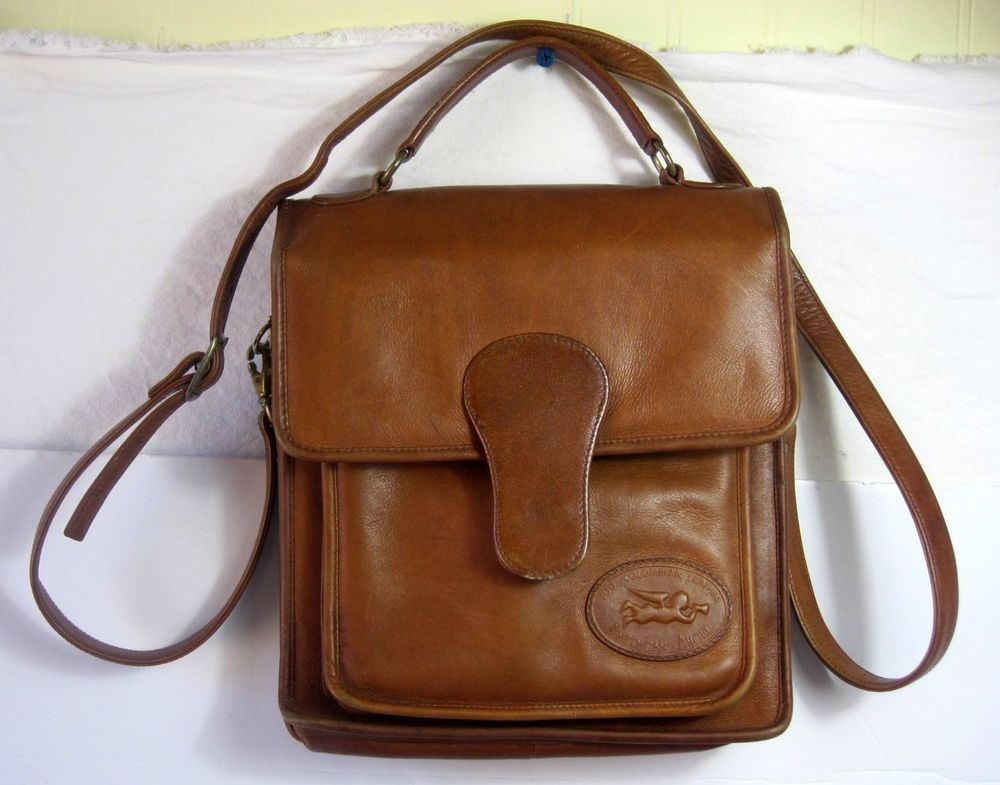 c6b648b73b3d Vintage American Angel Brown Leather Cross Body Handbag Organizer Satchel   AmericanAngel  MessengerCrossBody