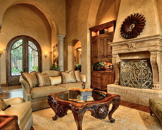 Wooden Element Tuscan Living Room Ideas