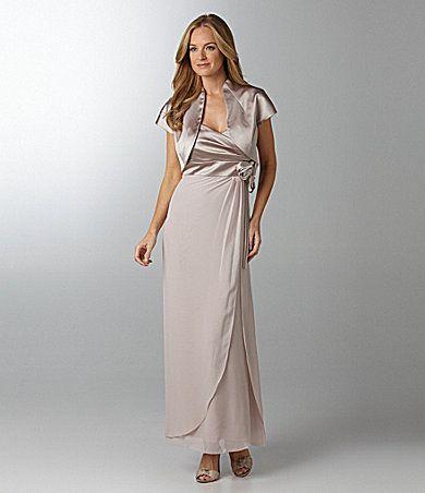 $180 KM Collections Satin & Chiffon Bolero Jacket Dress | Dillards ...