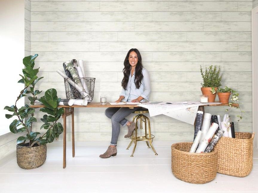 Joanna Gaines Removable Shiplap Wallpaper For Style Without The Fuss Ship Lap Walls Small House Decorating Farmhouse Decor Living Room