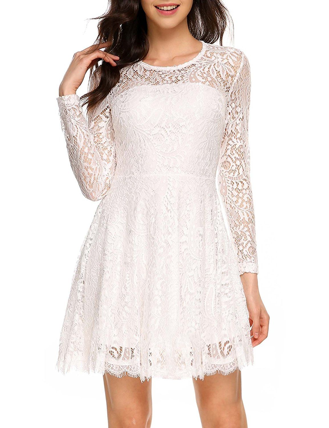 fbad8450b1a ANGVNS Women Vintage A-Line Long Sleeve Floral Lace Backless Fit and Flare  Dress at Amazon Women s Clothing store