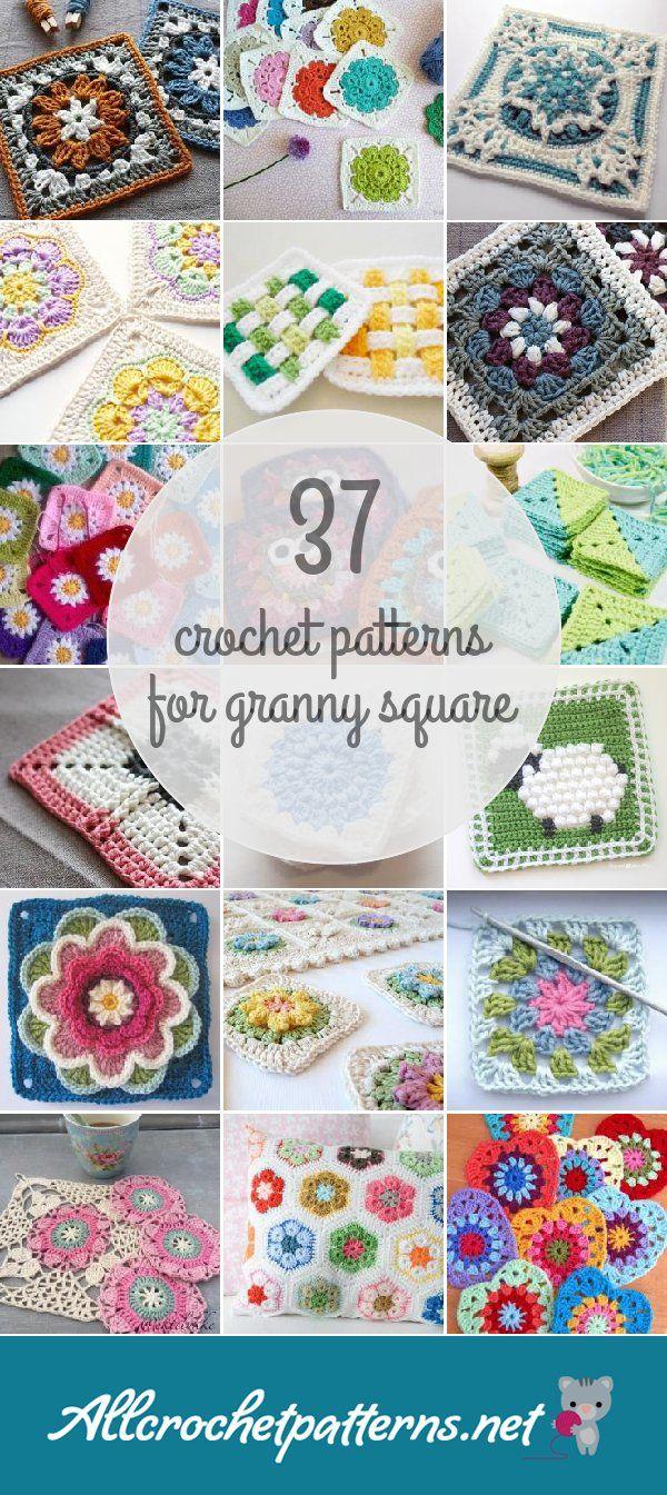 37 Granny Square Crochet Patterns | Crochet | Pinterest | Cuadrados ...