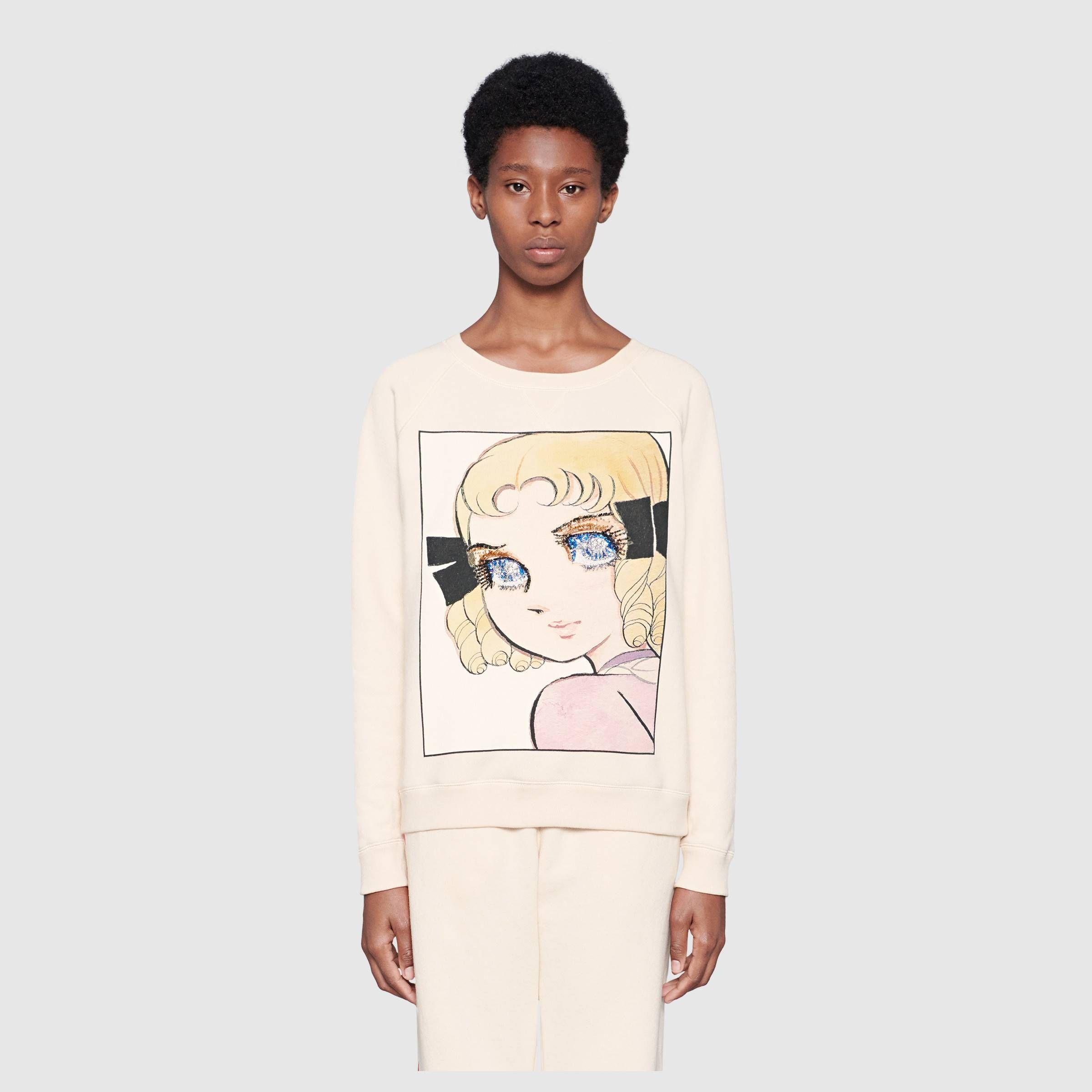 Cotton Sweatshirt With Manga Print In Off White Heavy Felted Cotton Gucci Women S Sweatshirts Sweatshirts Women Cotton Sweatshirts Sweatshirts [ 2400 x 2400 Pixel ]