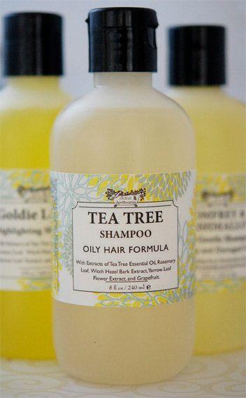 Natural Tea Tree Oil Shampoo- for Oily Hair & Scalp - Liquid Castile Shampoo - Crisp Clean Fragrance. $9.75, via Etsy.