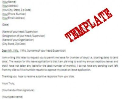 Template Of Vacation Leave Letter #Stepbystep | Books & Literature