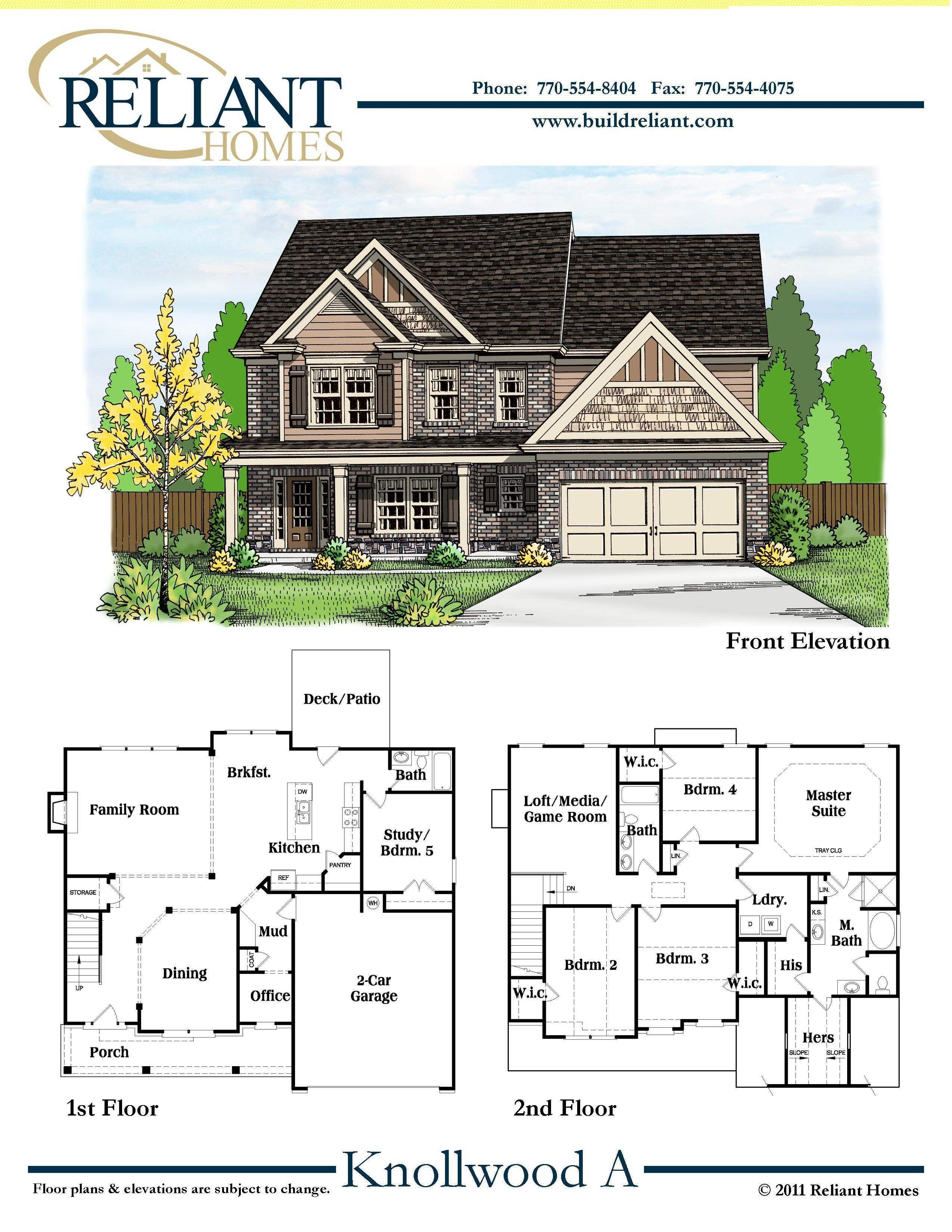 Reliant Homes The Knollwood A Plan Floor Plans Homes