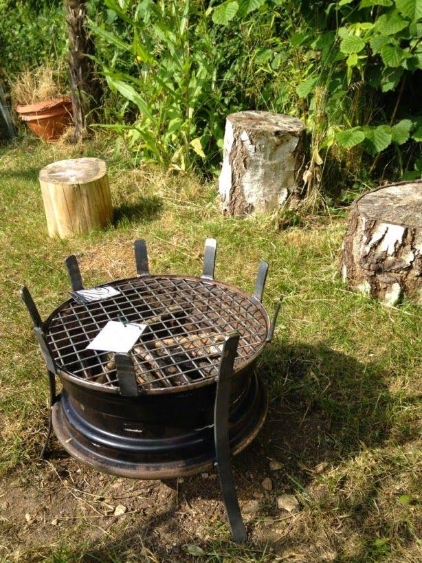 Idee Recup Barbecue Avec Roue De Voiture Amenagement Jardin Recup Brasero De Jardin Jardin Recup