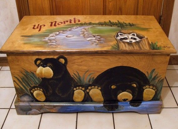 Up North Black Bear Toy Box Kids Furniture Wooden Chest Hand