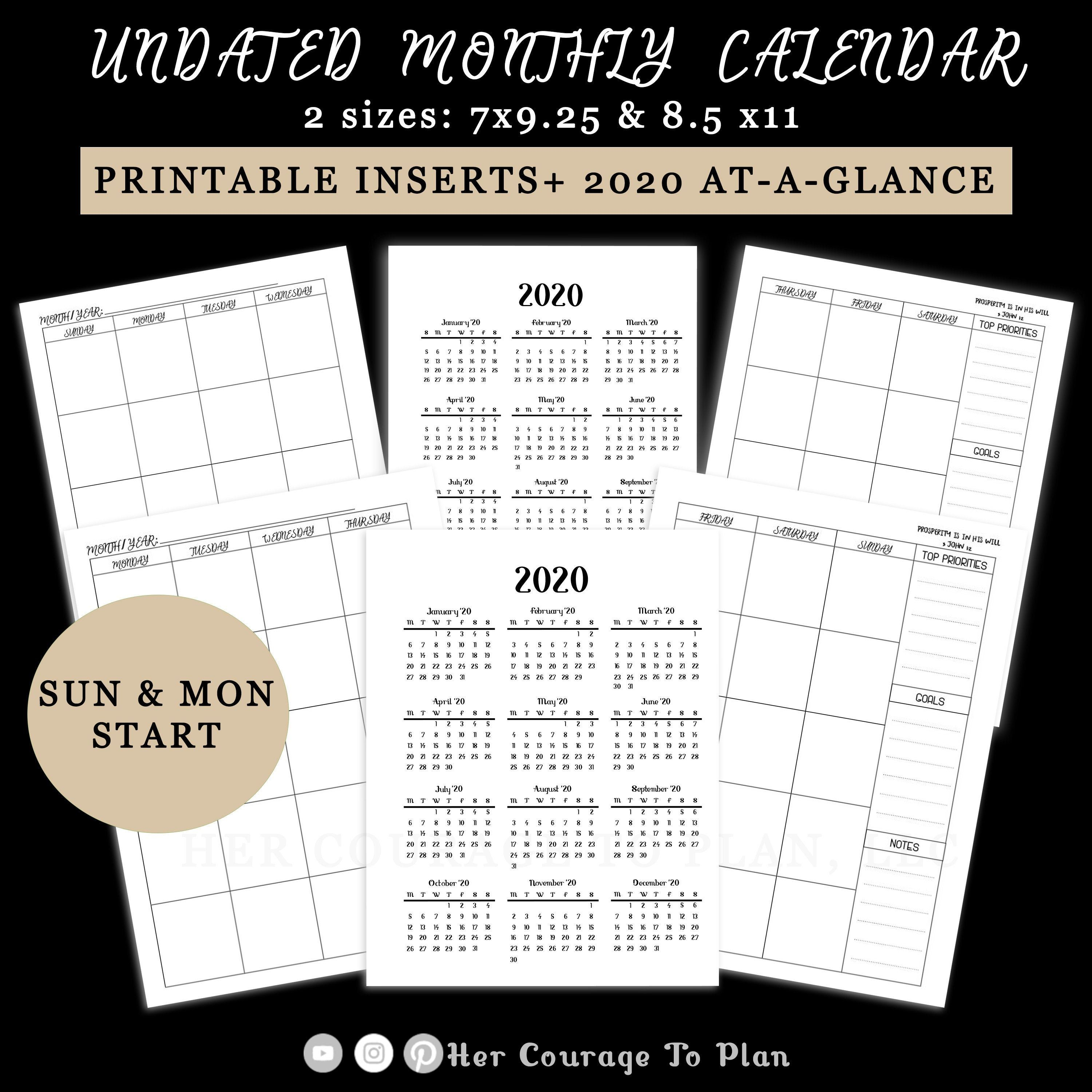 Monthly Calendar UNDATED Printable Planner Insert, 2020 At