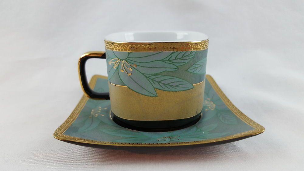 Alpine Cuisine Porcelain Espresso Demitasse Cup and Saucer Black Gold Blue | eBay