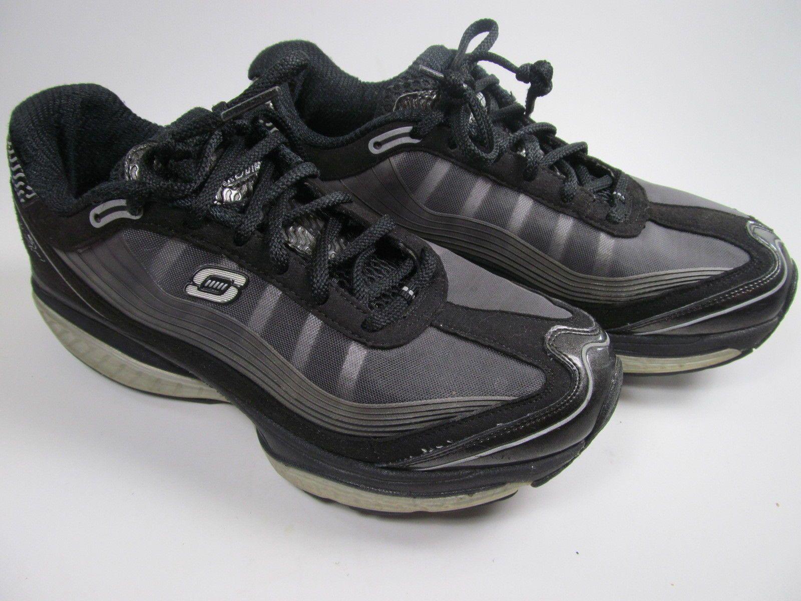 Skechers Shape-Ups Resistance Black Silver Walking Running Shoes Sizes 8