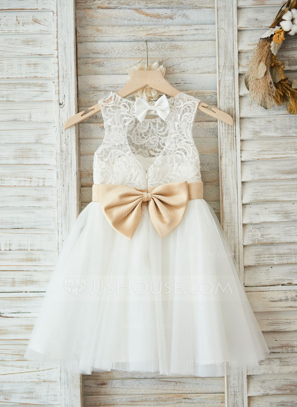 3c4857cf3 A-Line/Princess Knee-length Flower Girl Dress - Satin/Tulle/Lace Sleeveless  Scoop Neck With Sash/Bow(s)/Back Hole (010090576) - Flower Girl Dresses -  ...