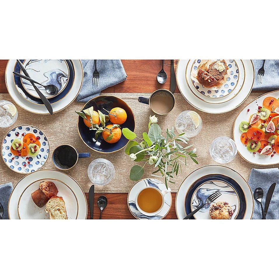 Photo of Olivia & Oliver Harper Splatter Gold Salad Plate In Blue Blue/gold
