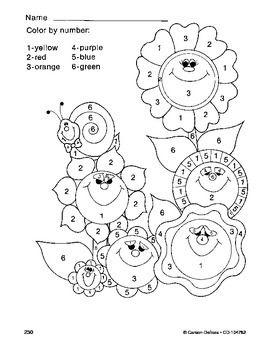 Spring Summer Flowers Color By Number Grades PK-1