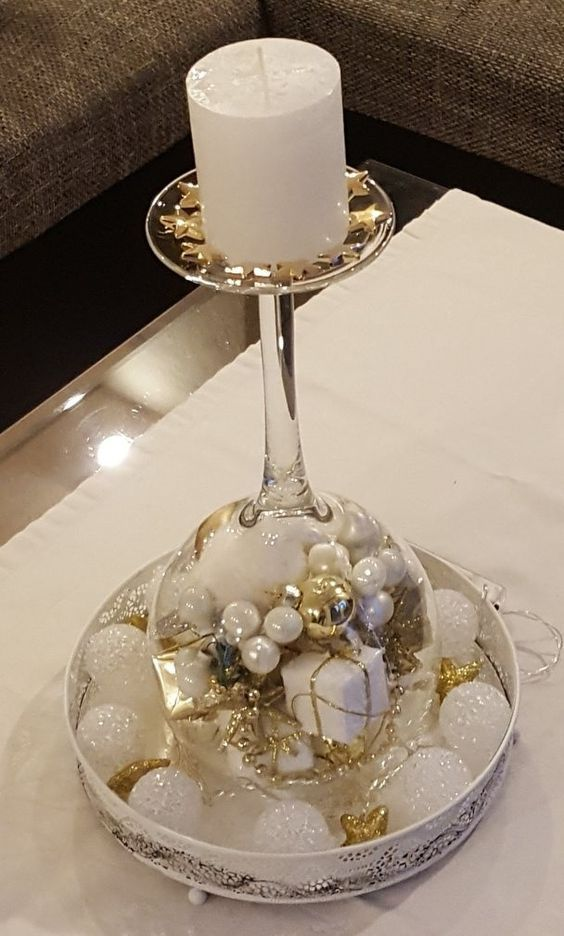 Christmas Wine Glass Candle Holder Diy Home Decor Ideas Beautiful Christmas Decor Christmas Wine Glass Snow Globe Cheap And Easy Kerst Kerstdecor Wijnglas