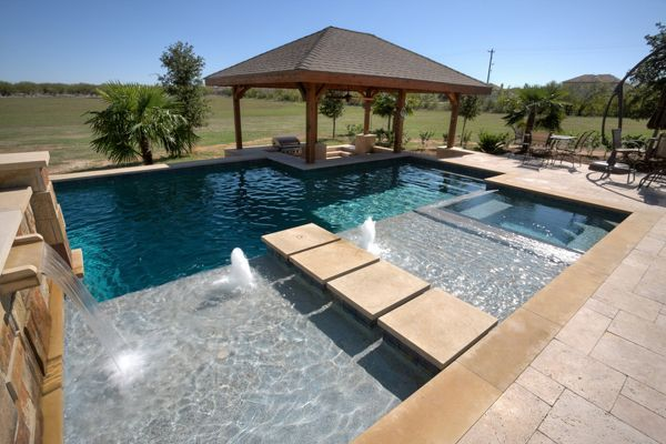 Geometric Swimming Pool | Waterfall And Water Scupper | Texas Pools And  Patios