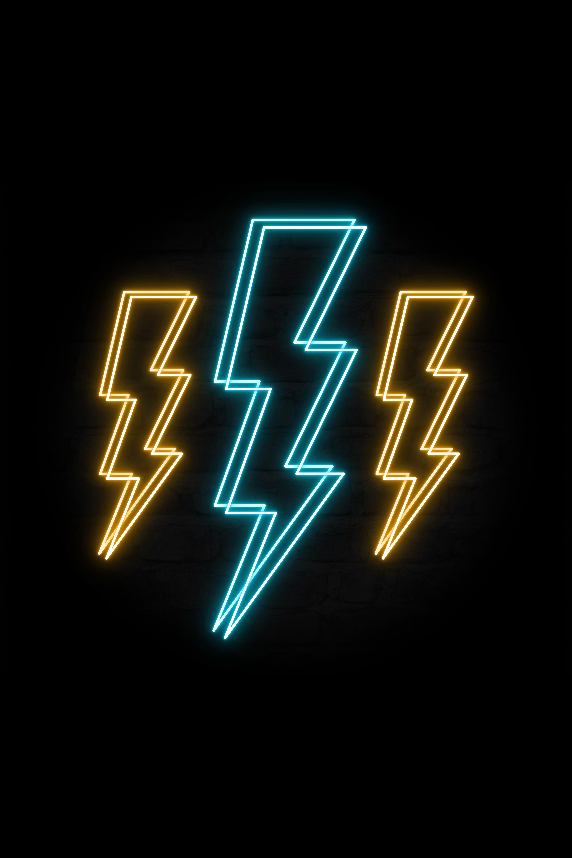 Neon Retro Lightning Bolts In 2020 Neon Wall Signs Neon Lightning Bolt