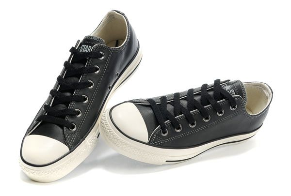 2089fb126eab07 Monochrome Black Leather Converse All Star Overseas Edition Low Top Sneakers