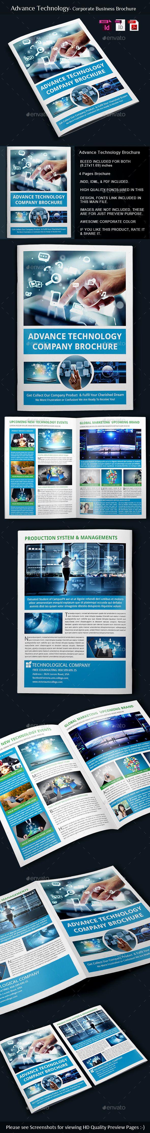 Advance Technology  BiFold Brochure Template  Brochure Template