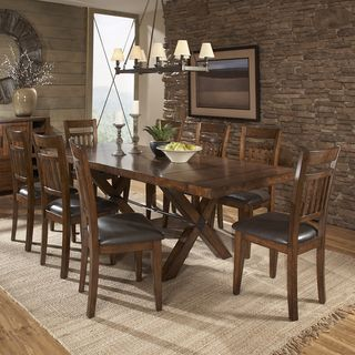 @Overstock   TRIBECCA HOME Inverness Warm Oak Turnbuckle 9 Piece Mission Dining  Set