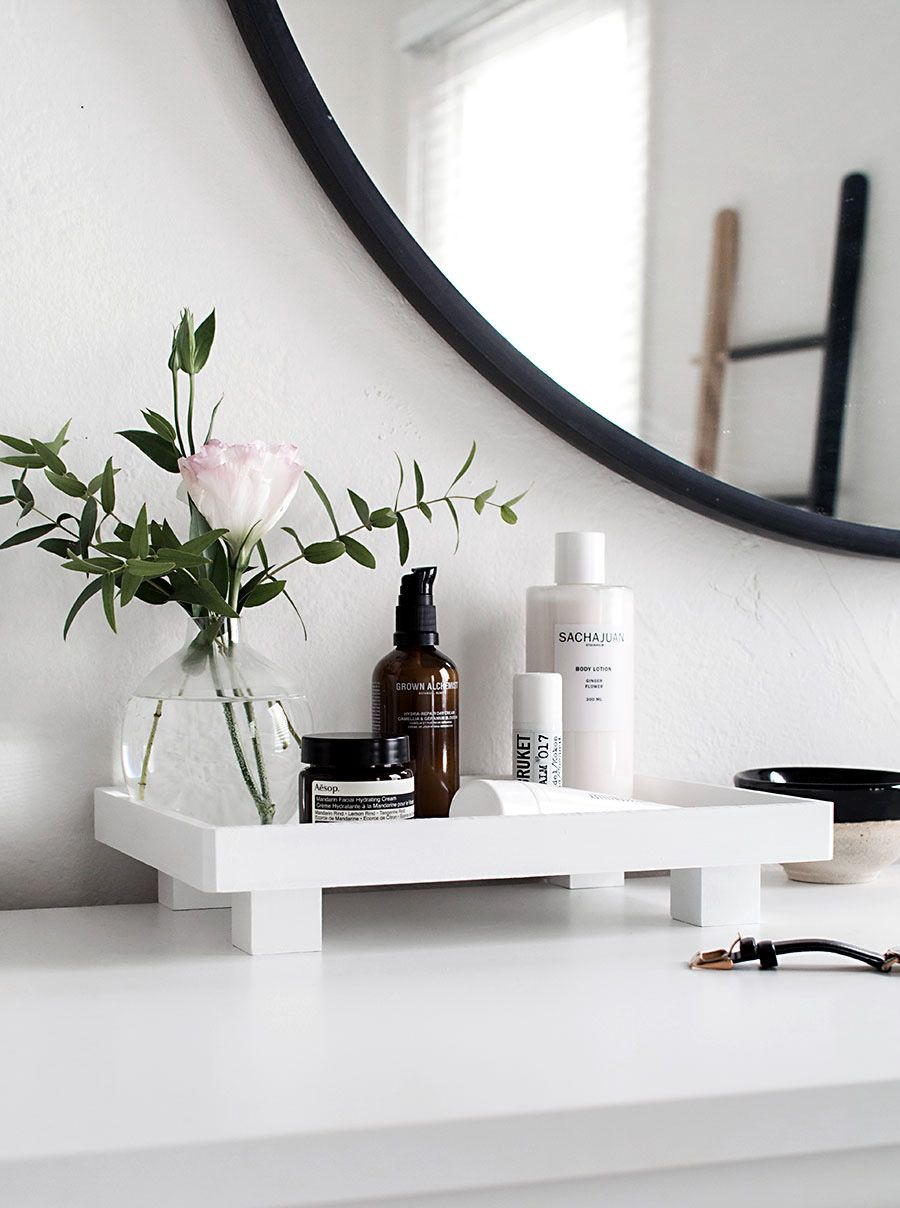 diy footed vanity tray diy decor and furniture projects bathroom rh pinterest co uk Gray Vanity Tray Bathroom Glass Vanity Trays