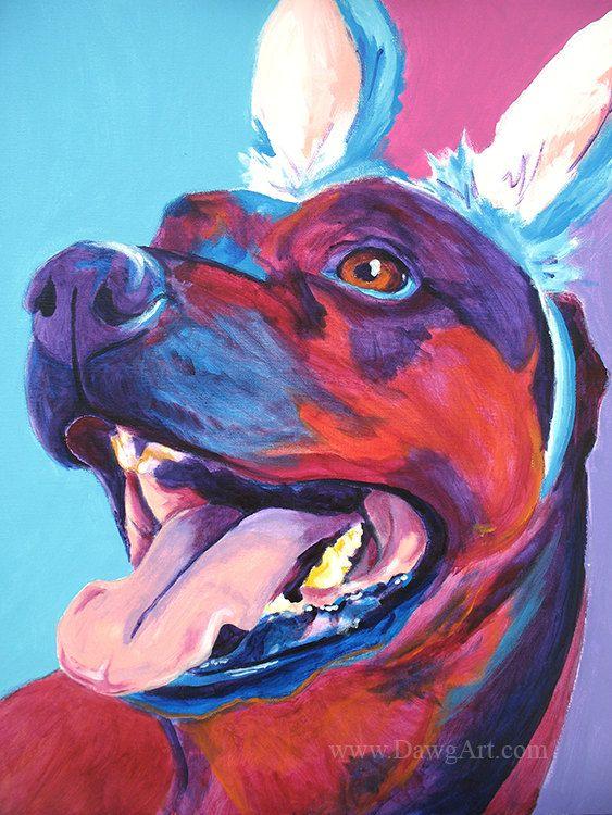 Rottweiler Pet Portrait DawgArt Dog Art Pet von dawgpainter auf Etsy